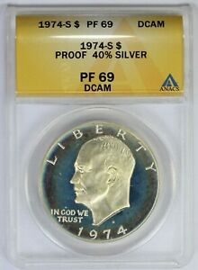 1974-S ANACS $1 Eisenhower Silver Dollar Proof PF69DCAM Deep Cameo Toned