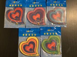 5 Coveva 3D Lucky Hearts Hanging Air Fresheners Car Taxi Van Wash Valet Bulk