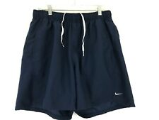 Vintage Nike Swoosh Swim Trunk Running Shorts Blue Men L Large (30-38) SPELLOUT