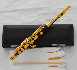 Top Gold Plated Piccolo Flute Black Bakelite Material C Key Italian pad New Case
