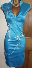 FAB ❤️ JANE NORMAN BNWT £45 Turquoise Satin Oriental Chinese Party Dress Size 10