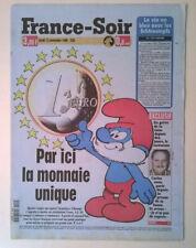 FRANCE-SOIR du 12/11/1998 - 40 ans de Schtroumpfs / Monnaie unique : EURO J-50
