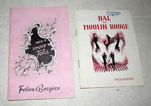 Two 1950s Paris Cabaret Programs & Tickets~Bal Du Moulin Rouge & Folies Bergere