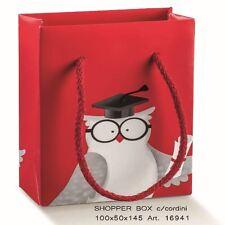 Busta Shopper Rosso con Gufo 100x50x145 mm Set 10pz art 16941