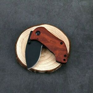 Drop Point Folding Knife Pocket Hunting Tactical Combat Carbon Steel Wood Handle