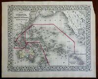 Oceania Australia New Zealand Polynesia Hawaii Islands 1872 Mitchell map