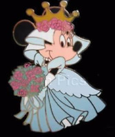 Disney Pin 47742 HKDL Minnie Mouse as Cinderella Blue Wedding Dress Princess !