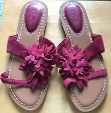 Clarks Raspberry Pink Suede Leather Sandals Size 6