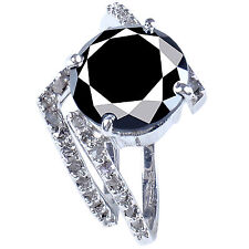 Natural Diamond 925 Silver Bridal Ring 4+Ct Black Moissanite & Raw White