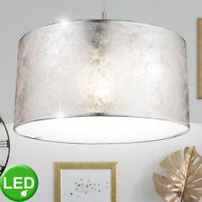 LED Decken Leuchte Samt Lampe weiß Wohn Zimmer Beleuchtung grau silber Textil