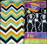 Set Of 2 Skeleton Halloween Holiday Kitchen Skull Dish Hand Tea Bar Towels