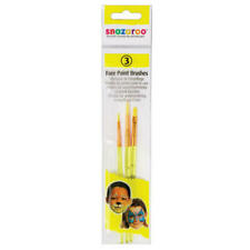 Set of 3 Snazaroo Face Paint Washable Brushes for Delicate Work