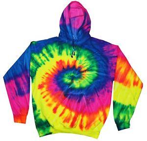 Tie Dye Rainbow Hoodie Adult & Kids Long Sleeve with Pockets Colortone