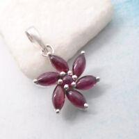 Granat rot red rund Blüte Blume Flower Design Anhänger 925 Sterling Silber neu