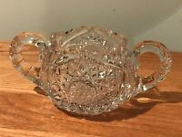 ABP Brilliant Cut Glass Crystal Double Handled Open Sugar Bowl