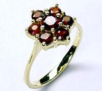 ECHT GOLD *** Granat Blume Ring Gr. 50 (16)