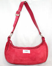 UGG AUSTRALIA Malibu Raspberry Red Suede & Shearling Handbag Purse Baguette