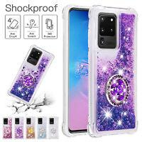 For Samsung S21 Ultra Note 20 S20 FE 5G Case Bling Quicksand Ring Holder Cover