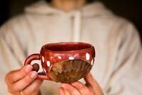 Polka dot coffee mug Pottery mug Ceramic mug Tea cup Rainbow mug Wife gift Husba