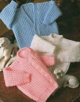 "Easy Knit Baby Cardigan Sweater Knitting Pattern DK 16-22"" Boys Girls 1139"