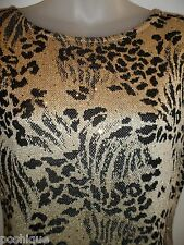 ST. JOHN BY MARIE GRAY 6 Vintage Dress Metallic Gold Sequin Speck Leopard Black