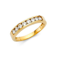 Real 14k Yellow Gold Stackable Eternity Round Cz Anniversary Wedding Ring Band
