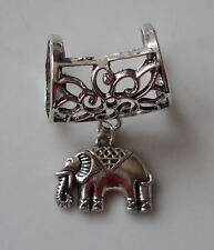 Scarf Bail Ring Large Elephant Design Silver Coloured + Free Gift Bag