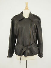 Vintage Lambskin Leather Belted Asymmetric Motorcycle Jacket Womens 38