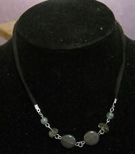 Lovely bootlace style necklace with small green/grey beads & silver tone metal