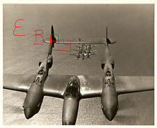 WWII HUGE 11X14  PHOTOGRAPH OF A GROUP LOCKHEED P-38 LIGHTNING IN FORMATION LOOK