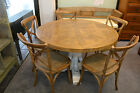 French Provincial Rustic Elm Wood Round Dining Table White Pedestal Base 140cm
