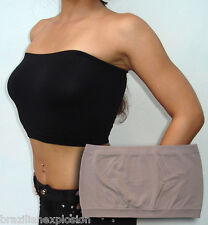 Seamless Strapless Bandeau BEIGE Tube Top Bra Solid no Pads FREE SHIPPING to USA