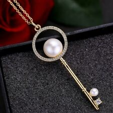 Huge Key Design Natural White Pearl Gems Yellow Gold Plated Necklace Pendants 2""