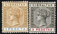 Gibraltar 1889 bistre/blue 1p black/carmine 2p crown CA perf 14 mint SG31/32