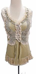Pretty Angel Ruffle Camisole M L XL Women's Crochet Lace Stones Pearls NWT Tan