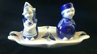 Vintage Delft Blue Girl & Boy Salt and Pepper Shakers on Tray Holland Dutch