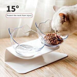 Anti Vomiting Orthopedic Pet Bowl 15° Tilted Dog Cat Feeder Food Water Bowls