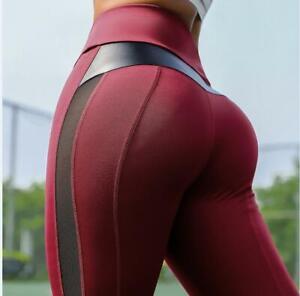 Women High Waist Yoga Pants Push Up Sport Leggings Mesh Workout Running Trousers