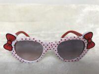 Lunettes de soleil solaires uv400 enfants blanches pois rouges noeuds originales