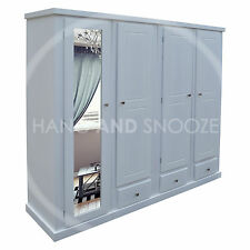 HANDMADE DEWSBURY 4 DOOR LADIES SHELVED WARDROBE WHITE (ASSEMBLED)