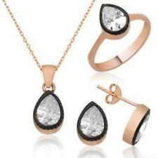 Gold White Zircon Handcrafted Drop Necklace Earring Ring Set 925 Sterling Silver