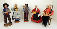 5 VTG Santons French Provence Dressed Women Men Statue Dolls Creux J P Marina