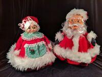 """Vintage Handmade Santa & Mrs Santa Claus Figures 11"""" Dolls 70's Folded Magazine"""