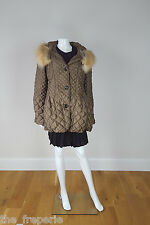 *CARLA BUTTI* QUILTED AND PADDED FUR TRIMMED HOODED JACKET (44)