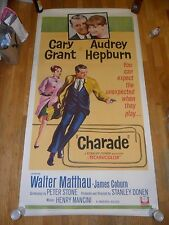 Charade ORIGINAL 1963 LINENBACKED 3-SHEET POSTER Cary Grant Audrey Hepburn