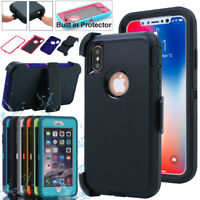 iPhone XS Max XR X 7 8 6s Plus Shockproof Heavy Duty Full Case Cover w/Belt Clip