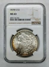 1878-S Morgan Silver Dollar NGC MS63 ELEGANT Gold and Red Toning Rev and Obv
