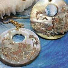Natural Abalone Shell Earrings Gold Mermaid Dolphin starfish Palm Trees Flower