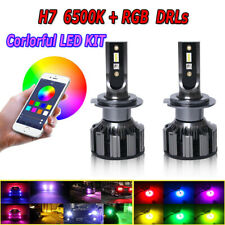 H7 Car LED RGB Headlight Kit APP Bluetooth Control Fog Lights Bulbs Lamp Module
