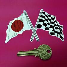 Crossed Japanese Hinomaru & Chequer Flag sticker 10cm